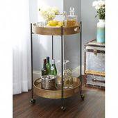 Ginnie 2-Tier Round Metal Frame Bar Cart – Bar cart