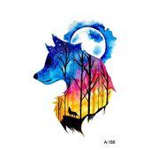 Wyuen New Design Wolf Forest Night Sky Fake Tattoo Waterproof Temporary Arm Tato…   – vyytyy
