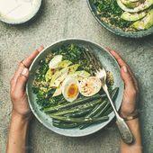 #Quinoa kale green beans & avocado  Healthy vegetarian breakfast bowls flat-lay….