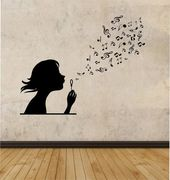 Lady Blowing Music Notes Vinyl Wall Decal Sticker Artwork Decor Bed room Design Mural inside design household woman room