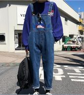 Harajuku style Maternity jeans/Denim Overalls #PR667
