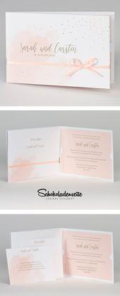 Betrachten Sie einfach diese schöne Einladungskarte mit Aquarell und goldenem Punkt…   – Hochzeitskarten
