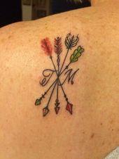 Familientätowierung. Jeder Pfeil responde a Kinder mit ihren Geburtssteinen als …, …  – Anfängliches Tattoo Blog