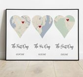 The First Day, The Yes Day, The Best Day, Important Dates Personalized Sign, Special Dates, Date Sign, Relationship Timeline Art, Heart Map
