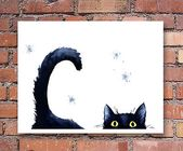 Details about Sneaky Black Cat Art Print Watercolor Painting – Watercolor