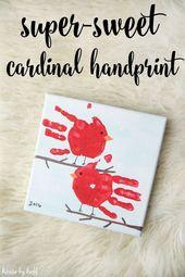 Super cute cardinal handprint gift – kids blog