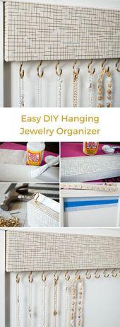 DIY-Schmuckorganisator für verwicklungsfreie Halsketten. Decken Sie Holz mit dekorativem