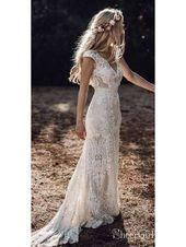 Vintage Lace Rustic Wedding Dresses Cap Sleeve Sheath Boho Wedding Dress AWD1347