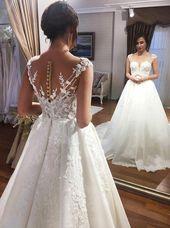 Beautiful Prom Dresses, A-Line Square Neck Court Train Satin Wedding Dress with Appliques Beading Jennifer Bridal