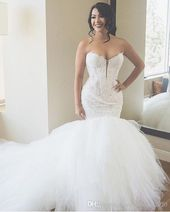 Luxury Ivory Lace Mermaid Wedding Dresses Sweetheart Appliques Puffy Tulle Ball Gown Wedding Dress Plus Size Bridal Gowns Custom Design Wedding Dresses Mermaid Wedding Dresses Wedding Dress Plus Size Online with $217.97/Piece on Fashionhouse2020's Store 9
