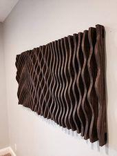Große hölzerne Wandkunst, parametrische Skulptur, Holzskulptur, moderne Kunst, abstrakte Kunst