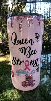 Honeycomb Tumbler | Cancer Awareness | Cancer Sucks | Breast Cancer | Glitter Tumblers   – Tumblers