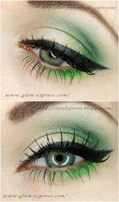 Green Eyes  10 Stylishly Festive Christmas Makeup Ideas #Cutcrease #Christmasmak…