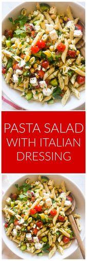 Salade de pâtes avec vinaigrette italienne – Recettes de pâtes – #Habillage #italien #Pa …   – Italienische Rezepte