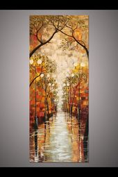 Hand-painted Large Modern Home Decor Wall Art Rainy night street light tree landscape thick palette knife oil painting on canvas art By Lisa