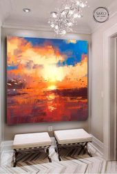 Sunset painting / Extra Large Wall Art / Abstract Painting / Seascape Painting / Large Canvas Art / Paintings On Canvas / Oil Painting
