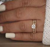 Brautring-Set, Moissanite-Rose-Gold-Verlobungsring, runder 6-mm-Moissanite-Ring, Diamant-Milg…   – Verlobungs Ringe