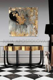 """45"""", grau Gold und schwarz, Aquarell große Goldblatt Reproduktion abstrakte Wandkunst für moderne Innenräume, XXL Leinwand Druck Gemälde von Julia"""