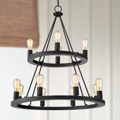 Lacey 29 1/4″W Round Black 2-Tier 12-Light LED Chandelier – #66X88   Lamps Plus