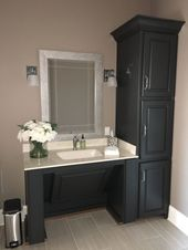 Accessible vanity painted BM wrought iron. Walls S…