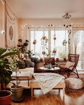 Start with white. White dividing walls and wooden flooring allow all boho pieces