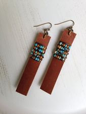 Leather Earrings Coachella Boho Earrings Leather Bar Earrings Bohemian Earrings Joanna Gaines Boho Chic Birthday Gift for Her Girlfriend