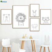 Lion Rabbit Bear Waschbär Wandkunst Leinwand Malerei Nordic Poster und Drucke Kinderzimmer Wa…