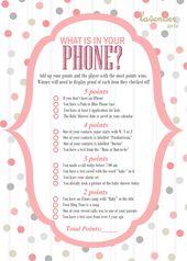 Was ist in Ihrem Telefon? Spiel, Pink Grey Polka Dots-Babyparty, Pink Grey Baby …  – Products