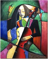 The Cellist Portrait – Hand Painted Cubist Painting On Canvas Art Musician Violin Cello CERTIFICATE INCLUDED