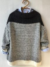 origami ◕ tricot laine pullover sweater knit wool noir et blanc – Tricot
