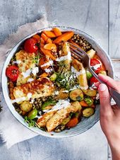 Colorful lentil bowl with baked halloumi