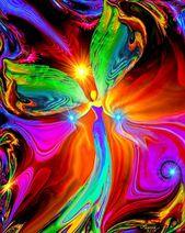 """Red Green Angel Art, Original Spiritual Reiki Decor """"Healing Hands"""""""