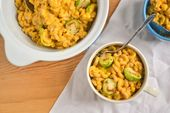 Pumpkin Mac and Cheese with Roasted Brussels Sprouts – #brussels #cheese #pumpki…   – fall recipe