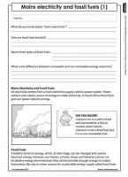 Mains electricity and fossil fuels (Grade 6)   Energy and change ...