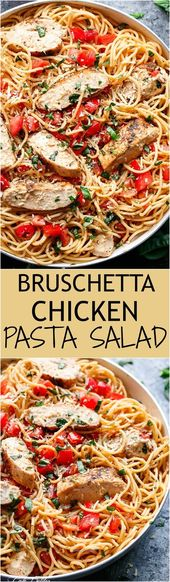 Bruschetta Chicken Pasta Salad is a must make for any occasion in minutes! Filled with Italian seaso