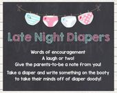 Bowties or Bows Late Night Diapers Baby Shower Sign/Blue or Pink Baby Shower Games/Diaper Thoughts Message – Caiteys baby shower
