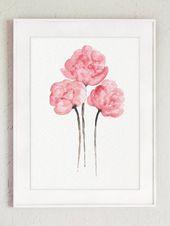Peony Shabby Chic aquarelle Peinture, décor de mur Floral rose pépinière, trois fleurs mis aquarelle Peinture, set 3 Art Print pivoines affiche   – Dormitorio silvia
