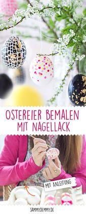 DIY-Ostereier mit Nagellack und Edding