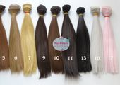 20cm (7.9″ inches) Hair for dolls, Straight hair, Tress, Synthetical hair, Weft, Hair for doll wigs, Art dolls, Synthetic doll hair, doll