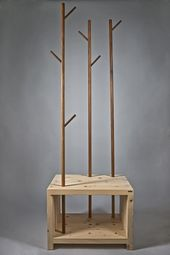 Solid wood wardrobe / seat 'MyStyle' with clothes rails made of walnut – real handmade from South Tyrol