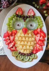 Owl fruit tray I made for my niece's woodland baby shower. She wanted kiwi, …