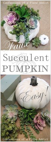 Easy Faux Succulent Pumpkin
