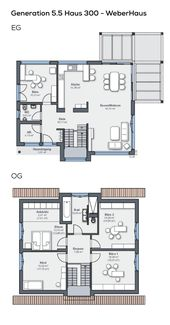 Modernes Einfamilienhaus der Generation 5.5 – Haus 300 – WeberHaus | direkter Aufbau   – Grundriss Einfamilienhaus