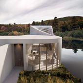 Das WAFAI-Seehaus ist mit einer Wand versehen, die sich allmählich in ein Dach verwandelt
