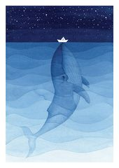 Baby Ilustration Blue whale print giclee wall hanging nautical wall decor by VApinx