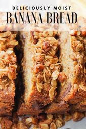 Fluffy banana and chocolate chip bread with pecan and cinnamon toppings –