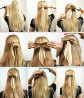 Schnell und einfach aus den Haaren eine Schleife für eine halboffene Frisur ges… – Frisuren