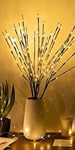 Vanthylit 3PK 30 Brown Lighted Twig Branches 60 LED Warm White Bulbs for Outdoor and Indoor