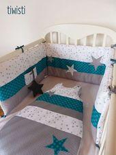 Lit rond turquoise gris et blanc basic star – bébé – #baby #bed …