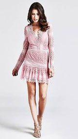 promo code fbc5e 30886 Vestito in pizzo rosa Guess di tendenza - Nuova collezione ...